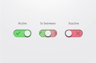 3 Simple On/Off Toggle Switches Set PSD