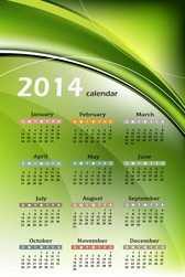 Calendar 2014 with Abstract Green Background