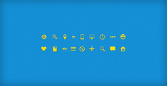 Crisp Yellow Web UI Glyph Icons Set PSD