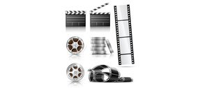 7 Film Reel Schindeln Fotografie Vector-Set