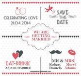 Free vintage wedding invitation with dotted