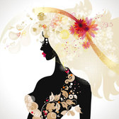 Fashionable beauty silhouete Vector-02