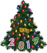 New Year 2014 Tree With Colorful Toys And Transparent Background PSD