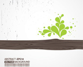 Vector Wooden with Green Leaf