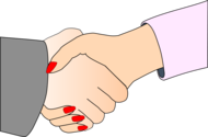 Handshake with Black Outline (white man and woman)