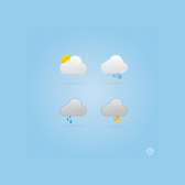 4 Cloud Weather Condition Vector Icons Set