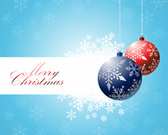 Christmas bulbs with snowflakes background