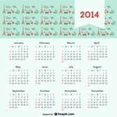 2014 Calendar with Travel Concept Paris City of Love