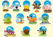 Free Vector Cute Cartoon vecteurs animaux