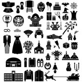 Elements of a variety of silhouettes vector material - Festi