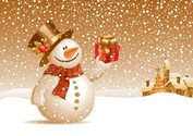 Snowman with Gift Vector Winter Scene