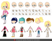 Free Vector Cute Cartoon Girl Characters
