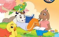 Cartoon animals reading