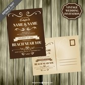 Vintage wedding card wooden template