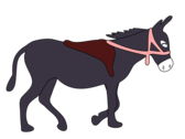 donkey is smiling with a saddle and a pink bridle
