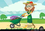 Gardener Women carrying Plants by Wheelbarrow