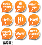 Vector Pack - Speech Bubble Stickers with Greeting Messages