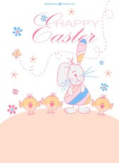Happy Easter cartoon characters
