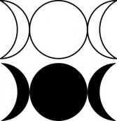 Triple Goddess Symbol (waxing Crescent, Full Moon, Waning Crescent)Outlined And Filled Versions