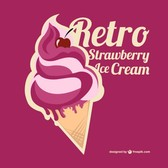 Vector strawberry ice cream