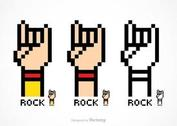 Free Vector Pixel Rock And Roll Hand Sign
