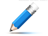 Blue pencil icon (PSD)