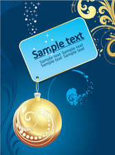Christmas Tag with Bauble on Blue Background