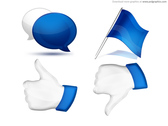 Comment, flag, thumbs up and down, social icons set (PSD)