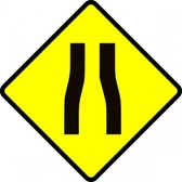 Caution Road Narrows