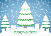 Snowy Christmas Background with Trees & Gift Box