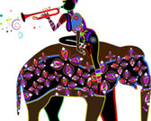 Illustration African girl riding elephant