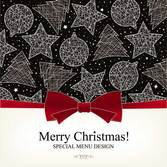Christmas pattern menu template vector-3