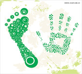 Dots Composed Of The Footprints With The Palm Of Your Hand