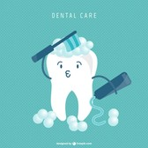 Tooth cartoon cleaning concept
