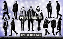 12 Vector people in winter clothes
