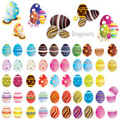Free Colorful Decorated Easter Eggs Vector Art