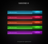 5 Colors Email Subscribe Buttons Set PSD