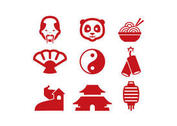 Red Chinese Vector Icons