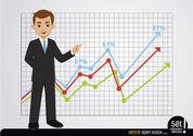Businessman showing growing charts