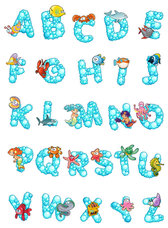 Cartoon alphabet design 01