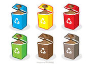 Colorful Trash Set Vector Pack