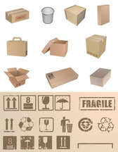 Packing Boxes And Packaging Material Commonly Used Symbol Ve