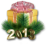 New Year 2013 Decoration With Golden Text PSD