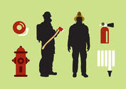 Isolated Fireman Vector Set