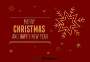 Merry Christmas and Happy New Year red postcard
