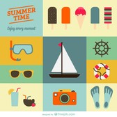 Summer holiday flat designs