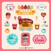 Retro ice-cream sweet badges