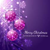 Purple Xmas Background with Ornament Decoration