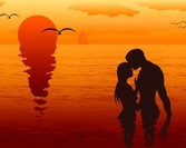 Silhouettes of loving couples