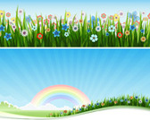 Free Vector Landscape and Grass flowers banner